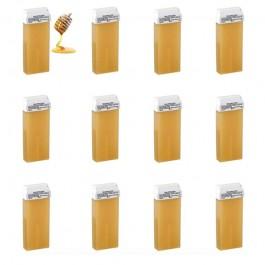 Kit 12pz MIELE - Cartucce di Cera Calda miele Epilatoria da 100ml cadauna Testina Larga.