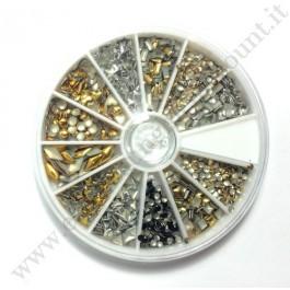 Rondella Nail Art Borchie Gold & Silver Forme Varie