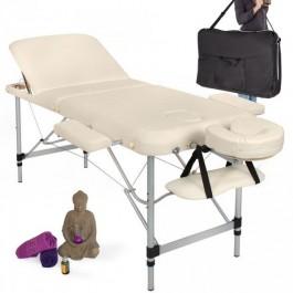 LETTINO BIANCO pieghevole 3 ZONE ALLUMINIO per estetica e massaggi