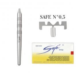 Manico MA101A per Lame SAFE + Scatola 50 Lame Safe N°0,5