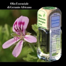 Puro olio essenziale d'origine BIOLOGICA di GERANIO AFRICANO (Pelargonium graveolens)