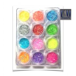 Set 12 barattolini filamenti Colorati Nail Art
