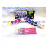 Kit 12 Colori Acrilic Nail Art Oksana Bilous+set 15 pennelli