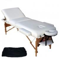 LETTINO bianco pieghevole 3 ZONE IN LEGNO DI FAGGIO per estetica e massaggi