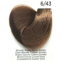 Tinta Colorante Professionale per capelli con ammoniaca Inebrya Biondo Scuro Rame Dorato 6.43
