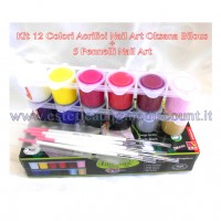Kit 12 Colori Acrilic Nail Art Oksana Bilous+set 5 pennelli