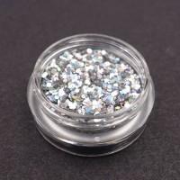 Paillette nail art Silver