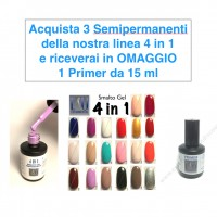 OFFERTA - 3 Smalto Gel Semipermanente 4 in 1 + OMAGGIO Primer Binder 15ml