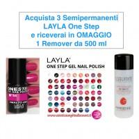 OFFERTA - 3 Smalto Gel Semipermanente Layla ONE STEP + OMAGGIO Solvente 500 ml