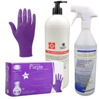 100 Guanti in Nitrile PURPLE SENZA TALCO Taglia M + Bactilemon Soft 2000 Detergente Disinfettante pronto all'uso - 1000 ml