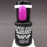 Layla Gel Polish Smalto Gel Semipermanente - 233 purple fluo glitter.