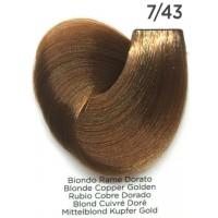 Tinta Colorante Professionale per capelli con ammoniaca Inebrya Biondo Rame Dorato 7.43