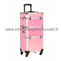Trolley rosa glitterato per accessori unghie/estetica