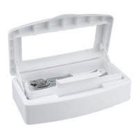 Contenitore in plastica per la disinfezione degli strumenti in acciaio inox.